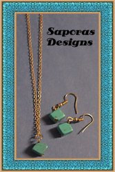 Gold Tone & Turquoise Dangle Earrings & Necklace Jewelry Set Native Ethnic