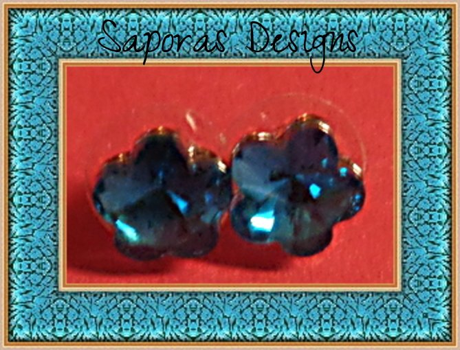 Image 0 of December Birthstone Color Flower Design Crystal Stud Earrings
