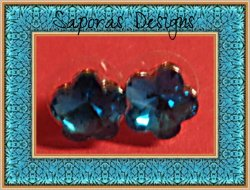 December Birthstone Color Flower Design Crystal Stud Earrings