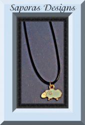 Blue & White Sheep Design Necklace With Black Rope Chain & Gold Tone Finish