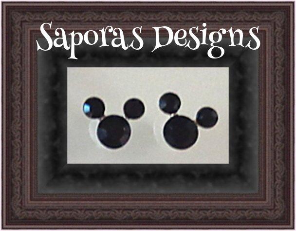 Image 0 of Black Crystal Stud Disney Mickey Mouse Design Earrings