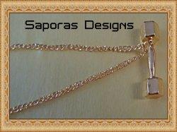 Gold Tone Dumbbell Design Necklace Unisex