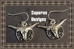 925 Sterling Silver Dangle Bull Horse Shoe Design Earrings Western Style