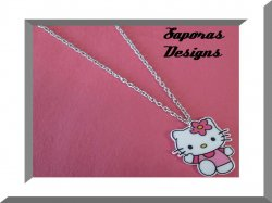 Hello Kitty Design Necklace With Silver Tone Chain