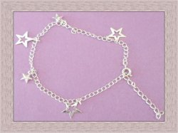 Silver Tone Star Design Anklet