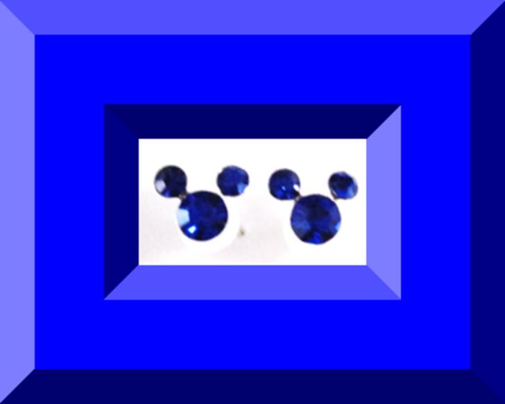 Image 0 of Disney Mickey Mouse Dark Blue Crystal Stud Earrings