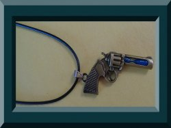 Antique Design Gun With Hour Glass & Black Rope Chain Unisex