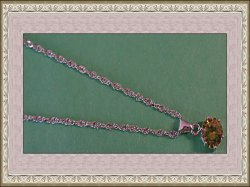 18KRP Necklace With Green Crystal Classy Style