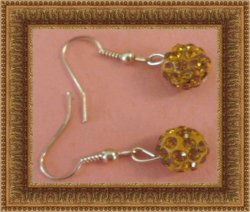 Gold Tone Dangle Earrings With Orange Ball Designs & Orange Crystals