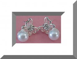 Silver Tone Butterfly Design Stud Earrings With White Faux Pearls & Crystals