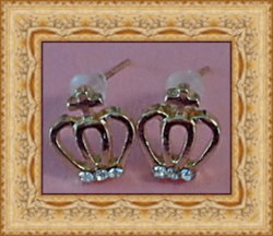 Gold Tone Crown With Cross Design Stud Earrings With Clear Crystals