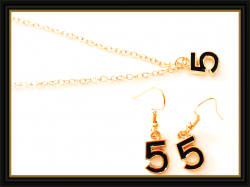 #5 Design Dangle Earrings & Necklace Jewelry Set Gold Tone & Black