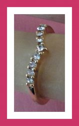 Size 5 Gold Tone Band Ring With Clear Crystals Classy Style