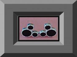 Black & Silver Tone Disney Mickey Mouse Design Stud Earrings