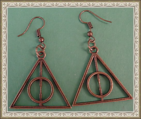 Image 0 of Antique Deathly Hallows Harry Potter Design Dangle Earrings