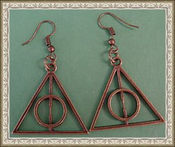 Antique Deathly Hallows Harry Potter Design Dangle Earrings