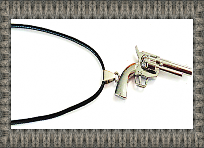 Image 0 of Silver Tone Gun Design Necklace With Black Rope Chain Biker Gothic Punk Rock