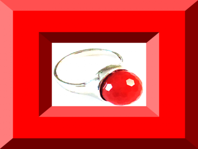 Image 0 of Silver Tone Size 8 Ring With Red Bead