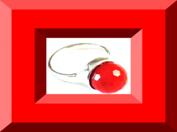 Silver Tone Size 8 Ring With Red Bead