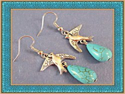 Tibetan Silver Dove Design Dangle Earrings With Turquoise Native Ethnic