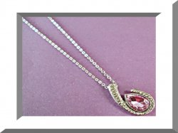 Silver Tone Birthstone Design Necklace With Purple & Clear Crystals Stylish Look