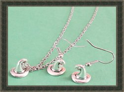 Tibetan Silver Dangle Earrings & Necklace Jewelry Harry Potter Sorting Hat Style