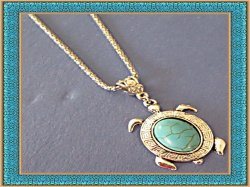 Tibetan Silver & Turquoise Turtle Design Necklace Native Ethnic Tribal Bohemian