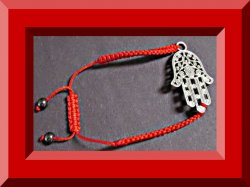 Handmade Palm Reader Design Bracelet With Braided Red Rope