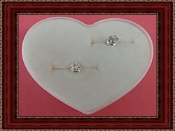 Silver Tone Stud Earrings With Clear Crystals & Pink Heart Box