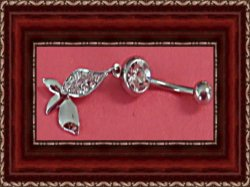 Silver Tone Flower Design Navel Belly Button Ring With Clear Crystals