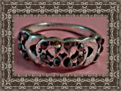 Vintage Silver Tone Heart Design Ring Size 6 With Black Crystals