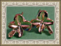 Gold Tone Four Leaf Clover Design Stud Earrings For Good Luck