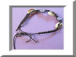 Handmade Black Braided Rope Anklet With Real Seashells & Purple Flower Beads