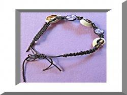 Handmade Black Braided Rope Anklet With Real Seashells & Purple Flower Beads