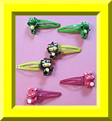 Set Of (3) Three Hair Bows Pink Hippo Green Frog & Brown Monkey Design