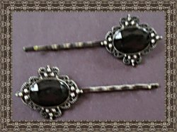 Vintage Bobby Pin Design Hair Bow With Black Bead Classy Style