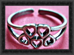 Vintage Silver Tone Heart Design Toe Ring Sassy Style