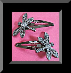 Vintage Black & Silver Tone Dragon Fly Design Hair Bows With Clear Crystals