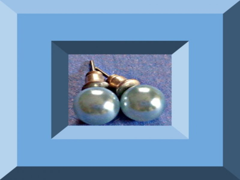 Image 0 of Blue Faux Pearl Stud Earrings Great For Weddings & Special Events