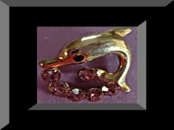 Gold Tone Antique Dolphin Design Brooch With Purple & Black Crystals