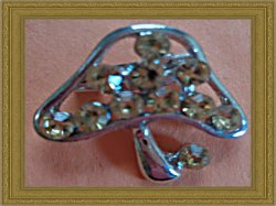 Silver Tone Mushroom Design Brooch With Brown Crystals