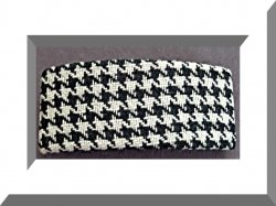 Black & White Checkered Design Hair Bow With Silver Tone Finish