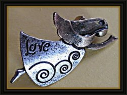 Antique Gold & Silver Tone Christmas Angel / Love Brooch