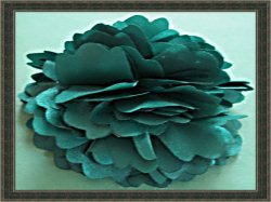Handmade Green Silk Flower Design Hair Bow Clip