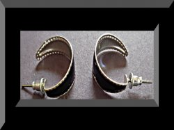 Silver Tone & Black Small Hoop Design Earrings