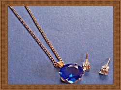 Gold Tone Necklace With Blue Crystals & Clear Crystal Stud Earrings