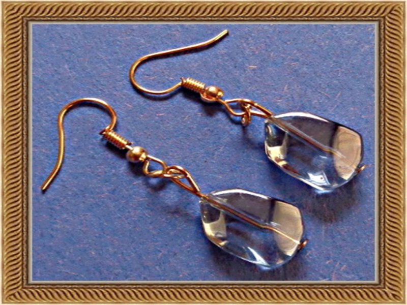 Image 0 of Blue Stone Wisdom Earrings Dangle With Gold Tone Finish
