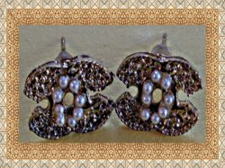 Antique Stud Letter C Design Gold Tone Earrings With White Faux Pearls