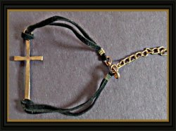 Handmade Cross Design Bracelet With Black Leather