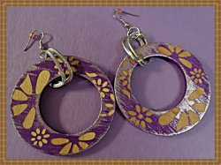 Handmade Round Circle Purple & Brown Earrings With Flower Designs Dangle Style